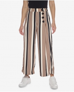 R&B Beige Striped Flare Pants