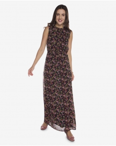 R&B Floral Long Dress  Black