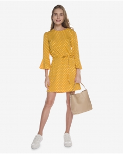R&B Dotted Midi Dress  Yellow
