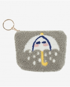 R&B Zippered Coin Pouch-Grey