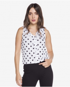 R&B Ruffled Polka Dot Blouse  White