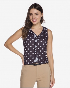 R&B Ruffled Polka Dot Blouse  Blue