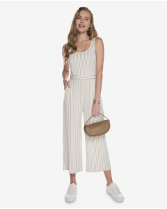 R&B Striped Jumpsuit  Beige