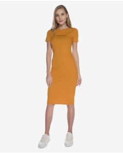 R&B Plain Midi Dress  Yellow